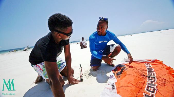Mark Maish kitesurfing in Kenya, Africa